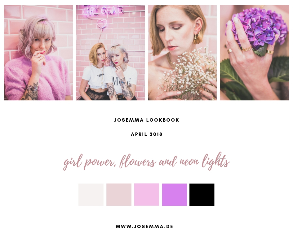 girl power, flowers, neon lights, Lookbook, Fotoshooting, Josemma Shooting