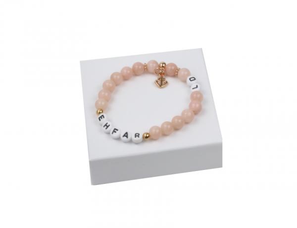 EHFAR - Initial Armband - Jade Perlen