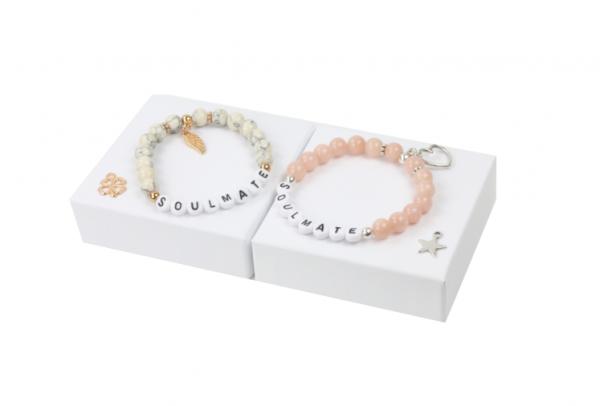 Perlen Armband - Marmor Rosa - Jade